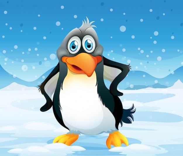 Ein großer pinguin in einer schneebedeckten gegend Kostenlosen Vektoren