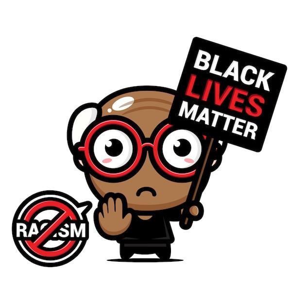 Ein großvater mit einem symbol des rassismus blieb stehen Premium Vektoren