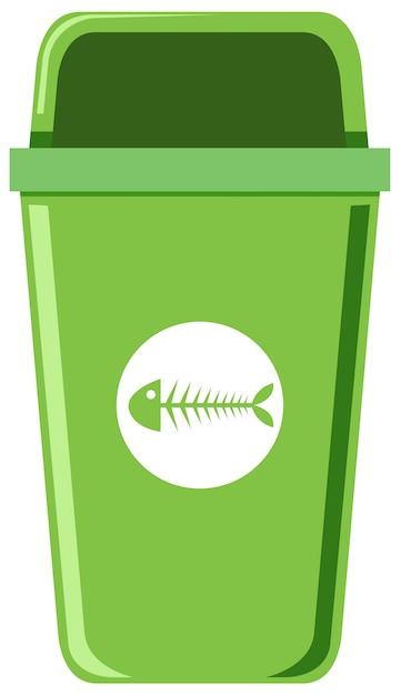 Ein grüner abfalleimer auf weißem hintergrund Premium Vektoren