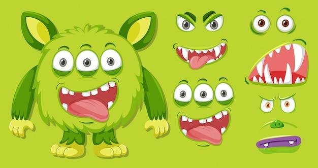 Ein grünes monster und gesichtsset Premium Vektoren