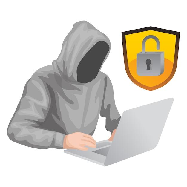 Ein hacker konnte das passwort eines gehackten kontos öffnen Premium Vektoren