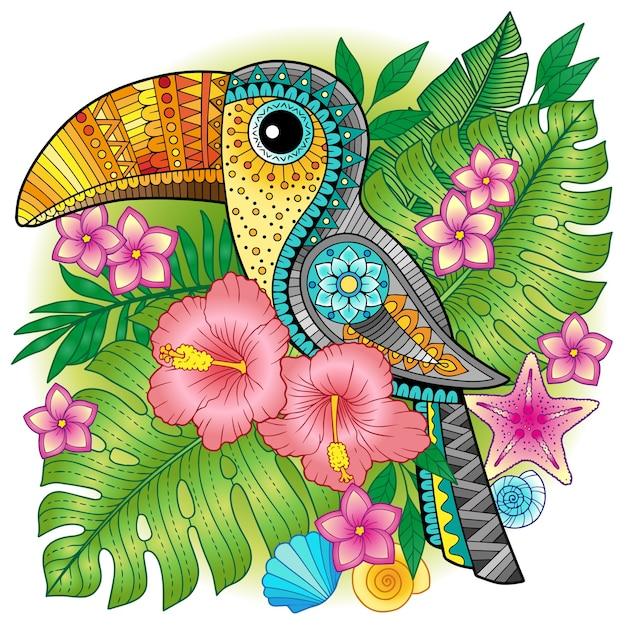 Ein heller dekorativer tukan zwischen exotischen pflanzen und blumen. bild zum drucken auf kleidung, textilien, plakaten, einladungen Premium Vektoren