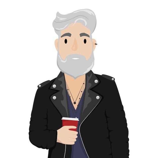 Ein hipster-mann mit grauem haar und bart in einer leder-bikerjacke mit einer tasse kaffee. subkultur, mode. cartoon-illustration Premium Vektoren