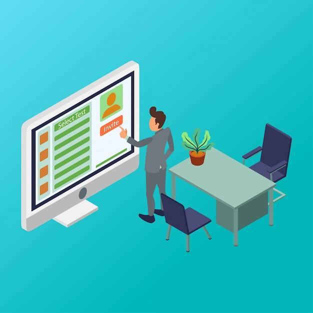 Ein hr-manager lädt mitarbeiter-kandidaten ein, eine isometrische testillustration zu erstellen Premium Vektoren