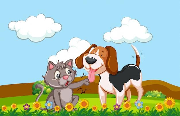 Ein hund und eine katze in einem garten Premium Vektoren