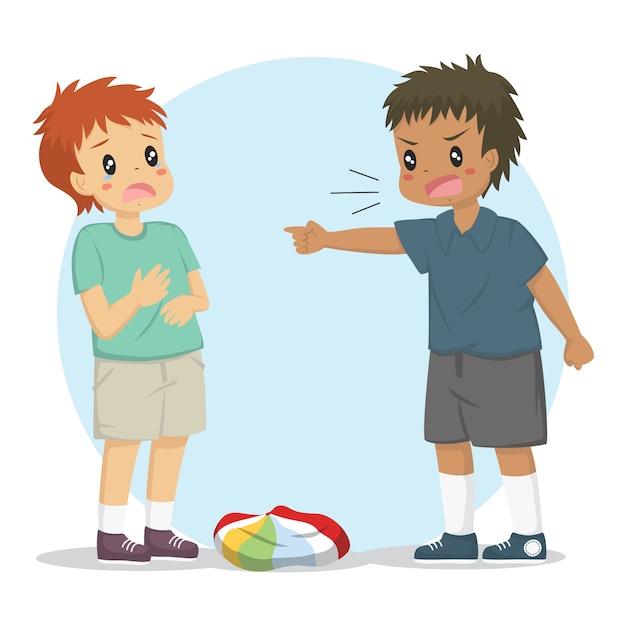 Ein junge beschuldigt seinen freund, den ball entleert zu haben. kinder kämpfen charakter Premium Vektoren
