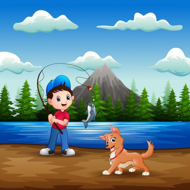 Ein junge, der mit seinem haustier im fluss fischt Premium Vektoren