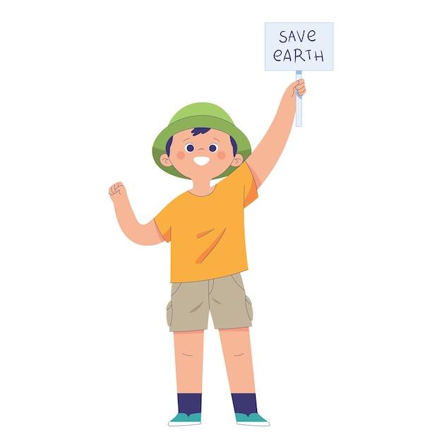 Ein junge hält ein kleines schild hoch, auf dem steht: save earth, das konzept der umwelterziehung von kindesbeinen an Premium Vektoren