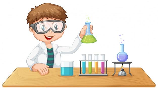 Ein junge im chemieunterricht Premium Vektoren