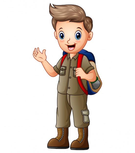 Ein junge im entdeckeroutfit mit rucksack Premium Vektoren