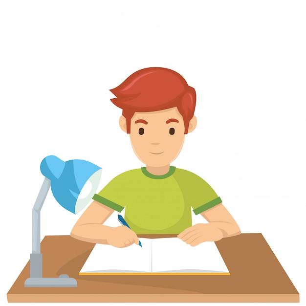 Ein junge lernt morgen vor der prüfung Premium Vektoren