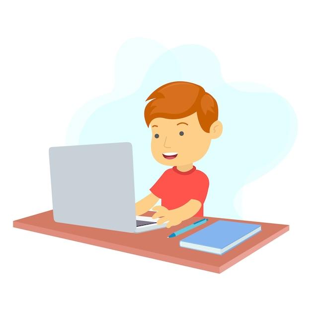 Ein junge lernt online mit einem laptop in einem raum Premium Vektoren