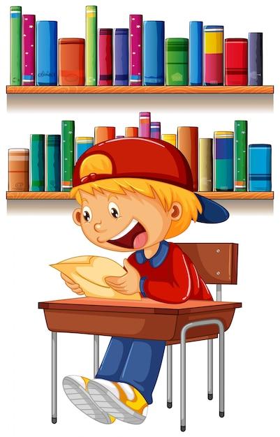 Ein junge liest auf dem tisch Kostenlosen Vektoren