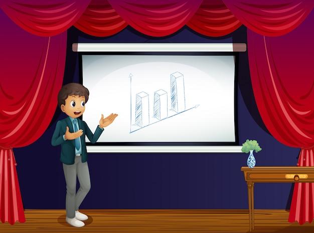 Ein junge mit seiner präsentation auf der bühne Kostenlosen Vektoren