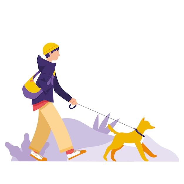 Ein junge nimmt seinen hund mit und geht im park spazieren Premium Vektoren