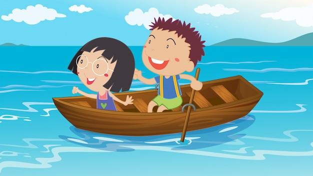 Ein junge und ein mädchen beim bootfahren Kostenlosen Vektoren
