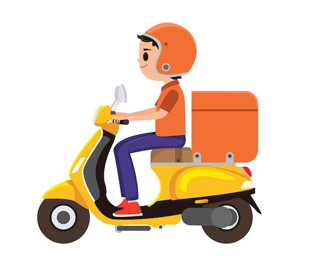 Ein junger junge, der einen orange lieferungsroller reitet Premium Vektoren