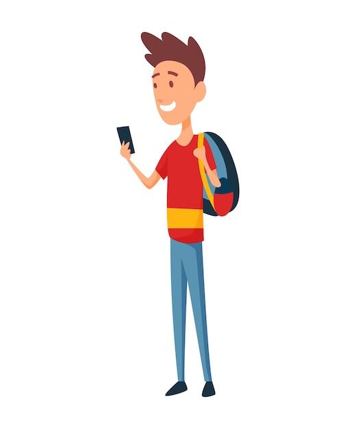 Ein junger mann mit smartphone und rucksack. Premium Vektoren