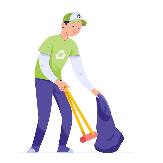 Ein junger mann nimmt müll mit einem stock und trägt einen müllsack Premium Vektoren