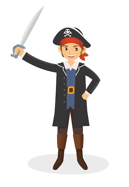 Ein junger pirat mit seinem schwert Premium Vektoren