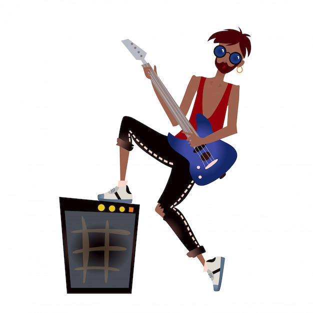 Ein junger schwarzer mann, der gitarre spielt. rock musiker. illustration auf weiß. Premium Vektoren