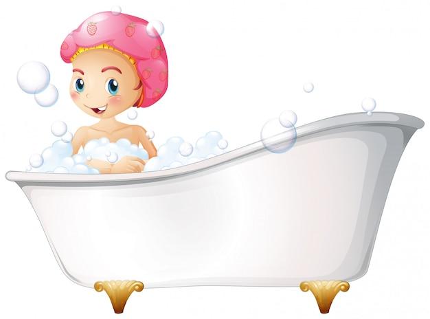 Ein junges mädchen, das ein bad nimmt Kostenlosen Vektoren