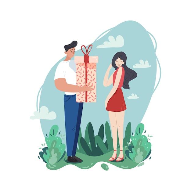 Ein junges paar verbringt seine zeit zusammen. mann gibt seiner verlegenen freundin ein geschenk. reine liebe und eine gute beziehung. Premium Vektoren