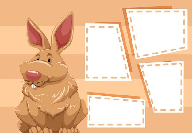 Ein kaninchen auf leere notiz Kostenlosen Vektoren