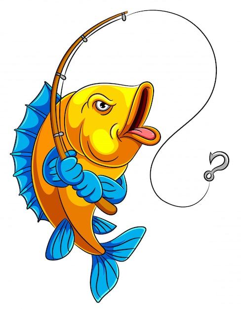Ein karikaturfisch, der angelrute hält Premium Vektoren