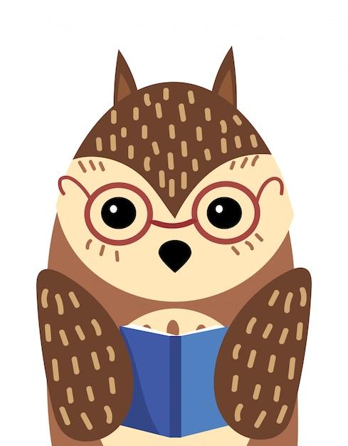 Ein karikaturporträt einer eule mit einem buch. illustration eines vogels für eine postkarte. Premium Vektoren