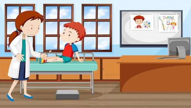 Ein kind, das doktor am krankenhaus sieht Kostenlosen Vektoren