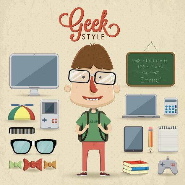 Ein kind geht zur schule mit fantastischen accessoires Kostenlosen Vektoren