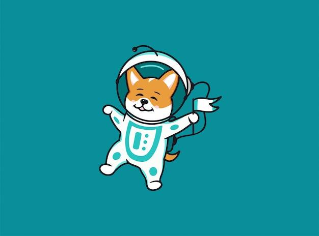 Ein kleiner astronauten-hunde-corgi, weltraum-logo. lustige zeichentrickfigur, Premium Vektoren