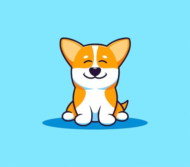 Ein kleiner hund corgi, logo. lustige zeichentrickfigur, logo Premium Vektoren