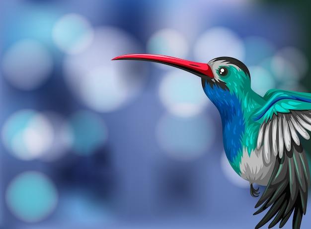 Ein kolibri auf undeutlicher hintergrundillustration mit copyspace Premium Vektoren