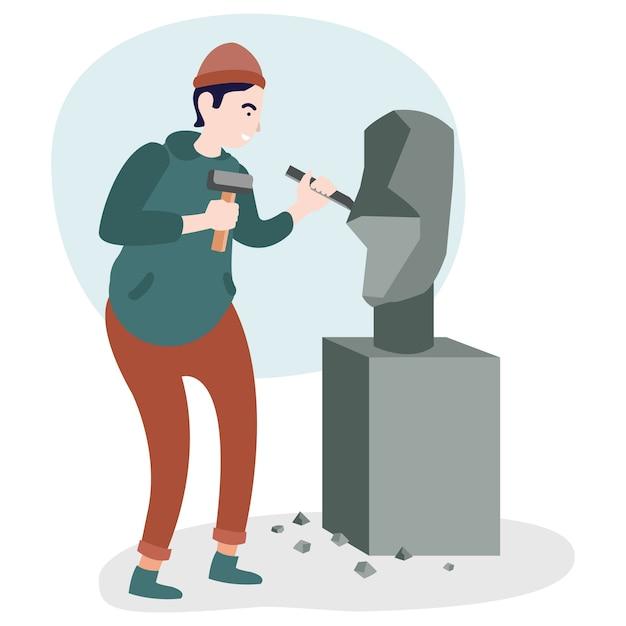 Ein kunstarbeiter schnitzt einen stein, der in einer internationalen ausstellung ausgestellt wird Premium Vektoren