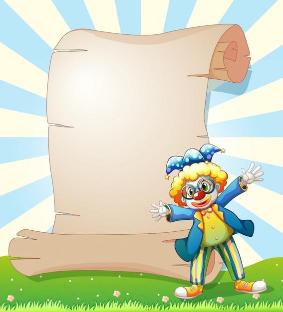 Ein leeres papier auf der rückseite eines männlichen clowns Kostenlosen Vektoren