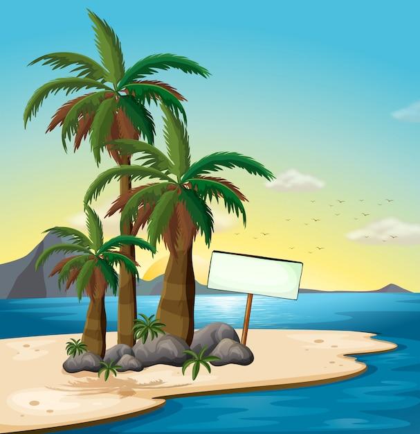 Ein leeres schild am strand Kostenlosen Vektoren