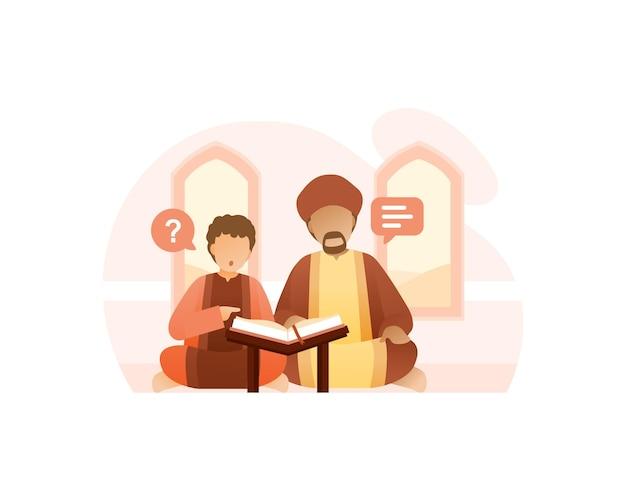 Ein lehrer bringt seinem sohn bei, den koran zu lesen Premium Vektoren