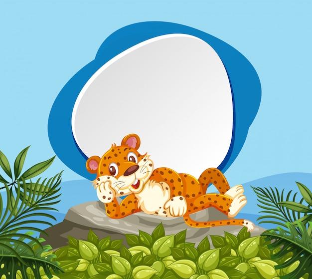 Ein leopard in der naturfahne Premium Vektoren