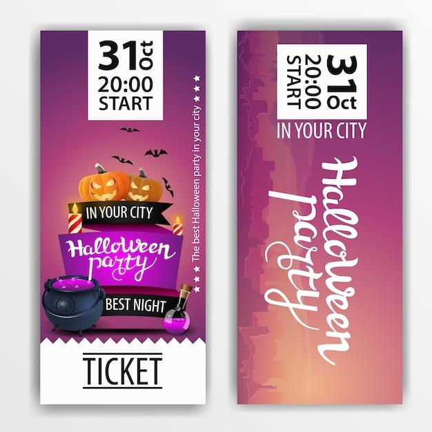 Ein lila ticket für die halloween-party Premium Vektoren
