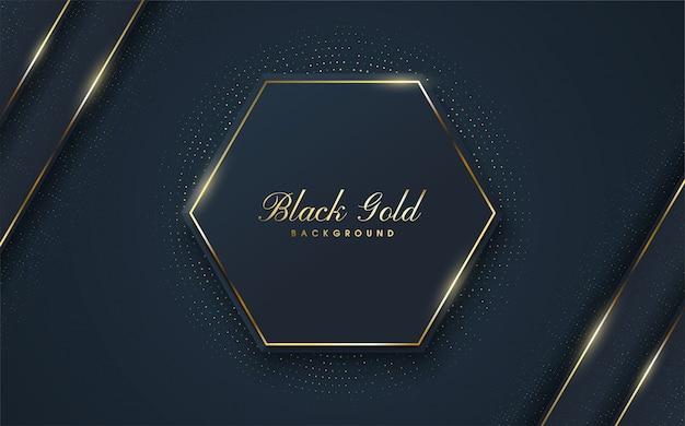 Ein luxuriöser hintergrund mit abbildungen der schwarzen hexagonformen mit einem goldentwurf auf den rändern. Premium Vektoren