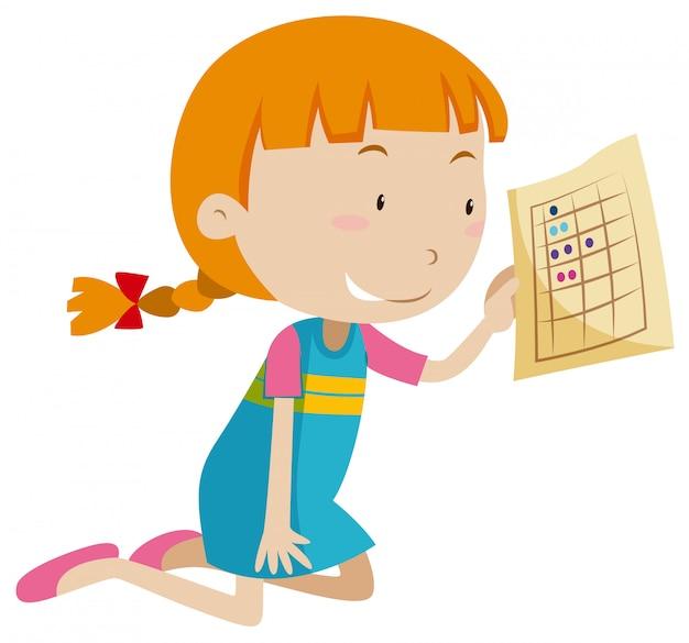Ein Mädchen, das ein Arbeitsblatt hält | Download der kostenlosen Vektor