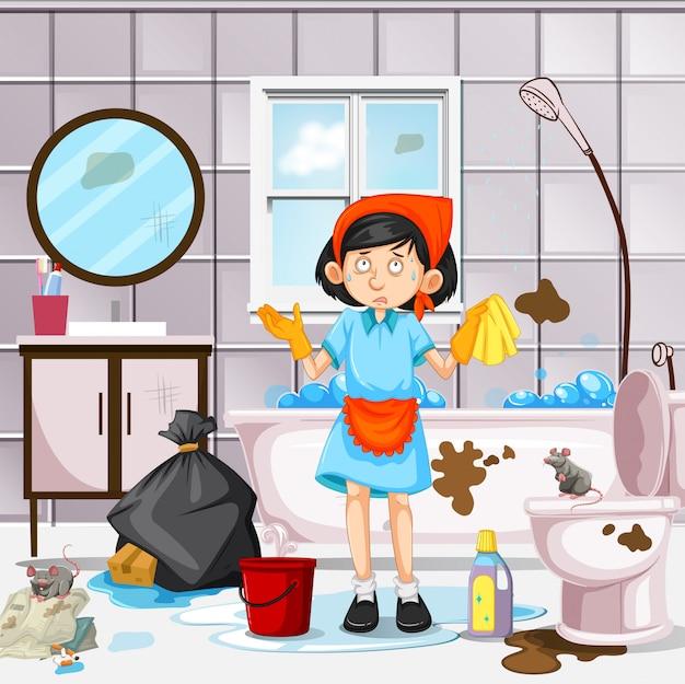 Ein Mädchen, das schmutziges Badezimmer säubert | Download der ...