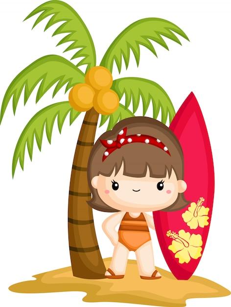 Ein mädchen, das ein surfbrett bei der stellung unter einem kokosnussbaum hält Premium Vektoren