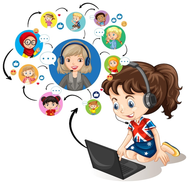 Ein mädchen, das laptop verwendet, um videokonferenz mit lehrer und freunden auf weiß zu kommunizieren Kostenlosen Vektoren