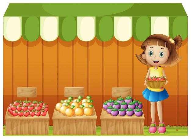 Ein mädchen, das verschiedene früchte verkauft Kostenlosen Vektoren