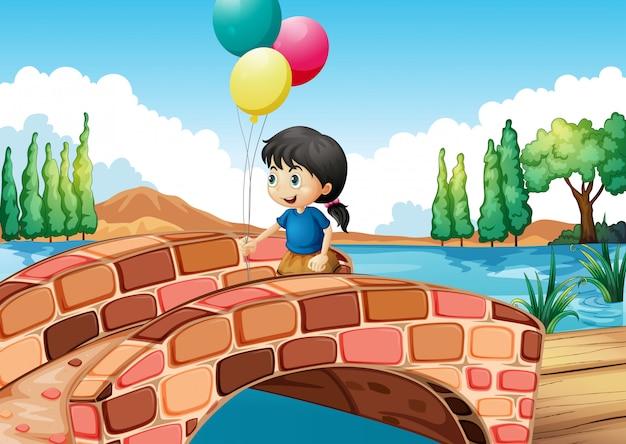 Ein mädchen mit drei ballonen, die entlang die brücke gehen Kostenlosen Vektoren