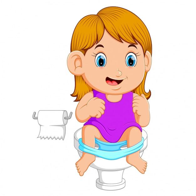 Ein mädchen mit toilette Premium Vektoren