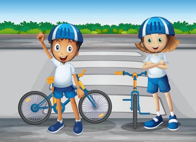 Ein mädchen und ein junge mit ihren fahrrädern stehen in der nähe des fußgängers Kostenlosen Vektoren